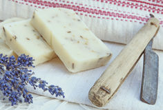 Home-made soap with lavender i Royalty Free Stock Photo