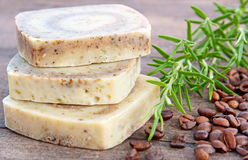 Home-made soap with rosemary and coffee Royalty Free Stock Photography