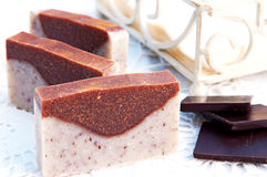 Home-made soap sandalwood and chocolate Royalty Free Stock Photos