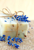 Home-made soap still-life with lavender Royalty Free Stock Photos