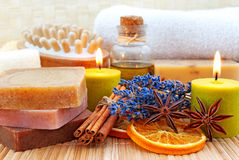 Home-made soap in wellness still life Royalty Free Stock Photography