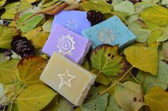 Home-made soaps. Some local home-made soaps with cute gold stamps on them. Set into the fall colours of course Royalty Free Stock Photos