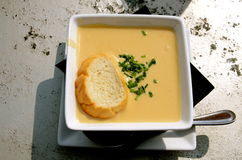 Home made soup in harvest air Stock Images