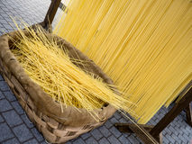 Home made spaghetti. Italian hand made pasta, home made speghetti Royalty Free Stock Image
