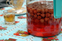 Home made strawberry liqueur Royalty Free Stock Photography