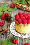 Home made sweet cake with raspberry Royalty Free Stock Image