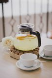 Home made tea with lemons, oranges and ginger Royalty Free Stock Photos