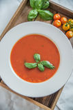 Tomato soup with basil leaves in a bowl Stock Image