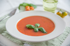 Tomato soup with basil leaves in a bowl Stock Photography