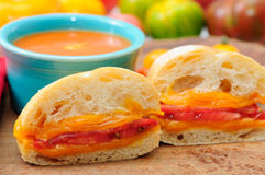Home made tomato soup with a cheese sandwich Royalty Free Stock Images