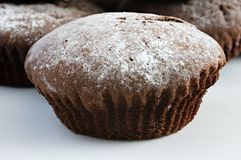 Home made Traditional chocalate muffins or cupcakes. Stock Images