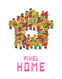 Home made up of isometric pixel art people Royalty Free Stock Photos