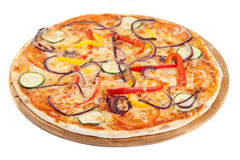 Home made vegetable pizza on white Royalty Free Stock Photo