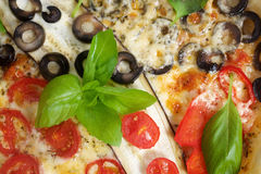 Home made vegeterian margarita pizza on table Royalty Free Stock Images