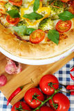 Home made vegeterian margarita pizza on table Stock Photo