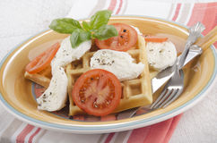 Home made waffle with cheese and tomato Stock Photos