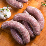 Home-made white sausage out pigs and calf meat Stock Photo