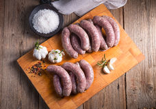Home-made white sausage out pigs and calf meat Royalty Free Stock Photo