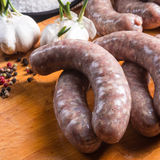 Home-made white sausage out pigs and calf meat Royalty Free Stock Image