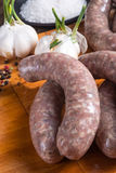 Home-made white sausage out pigs and calf meat Royalty Free Stock Photography