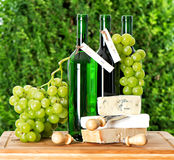Home made wine, grape berries and cheese Royalty Free Stock Photos