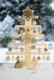 Home-made wooden Christmas tree stock photo