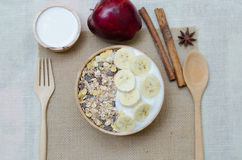 Home made yogurt with oat flakes in bowl Stock Photo