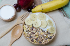 Home made yogurt with oat flakes Stock Photography