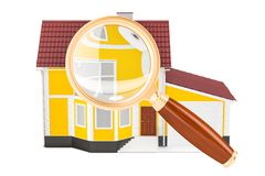 Home with magnifier, 3D rendering. Isolated on white background Royalty Free Stock Image