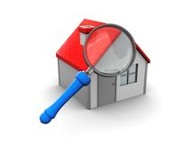 Home and magnify glass. 3d illustration of house and magnify glass over white background Stock Image