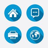 Home main page and globe signs. Printer and chat royalty free illustration