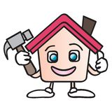 Home maintenance cartoon. House cartoon character holding a hammer illustration isolated on white background Royalty Free Stock Photography