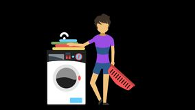 A home maker with washing machine