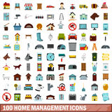 100 home management icons set, flat style. 100 home management icons set in flat style for any design vector illustration Stock Photography