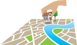 Home on map. Construct a home on land in a map Stock Photo