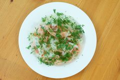 Home marinated Salmon. With dill on a wooden background Royalty Free Stock Photography