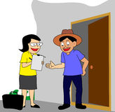 In-home marketing survey or census. Lady conducting house to house marketing survey or census data collection royalty free illustration