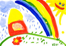 Home on meadow. Child's drawing. Home on meadow and rainbow. childs drawing on paper Stock Photos