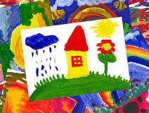 Home on meadow with collage Royalty Free Stock Image