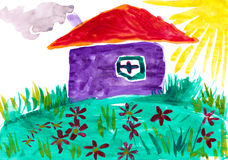 Home on meadow with flowers. Childlike drawing. Stock Photos