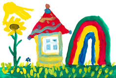 Home on meadow and rainbow. Childs drawing. Royalty Free Stock Image