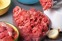 Home meat grinder scrolls minced Royalty Free Stock Photography