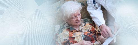 Home medical assistance of seniors. panoramic banner royalty free stock image