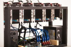 Home mining farm for bitcoin and cryptocurrency money. GPUVideo. Graphics Card mining royalty free stock photos