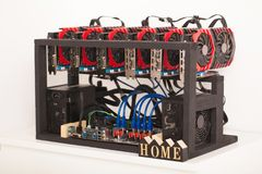 Home mining farm for bitcoin and cryptocurrency money. GPUVideo. Graphics Card mining stock photos