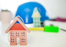 Home model and blueprint Royalty Free Stock Photo