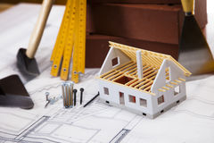 Home model on blueprints Royalty Free Stock Photography