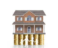 Home model on a coins. Loan concept royalty free stock photography