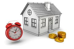A HOME modelo, despertador vermelho, empilha moedas do dólar Fotos de Stock Royalty Free
