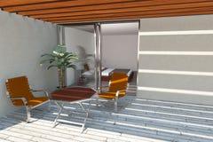 home modern terrass stock illustrationer